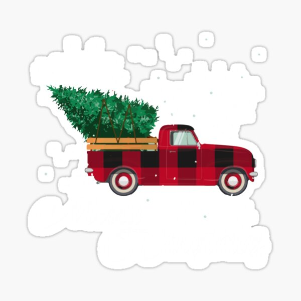 Vintage Red Plaid Pickup Truck With Christmas Tree Sticker