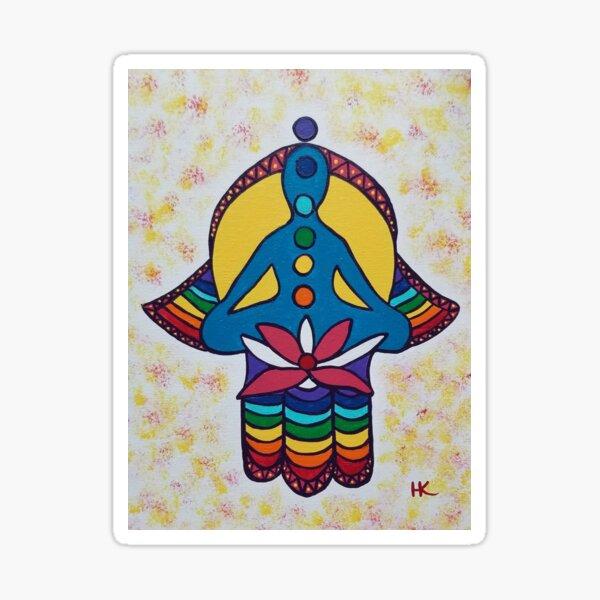 Chakra and Lotus Hamsa by Harriette Knight Sticker