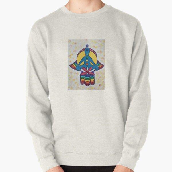 Chakra and Lotus Hamsa by Harriette Knight Pullover Sweatshirt