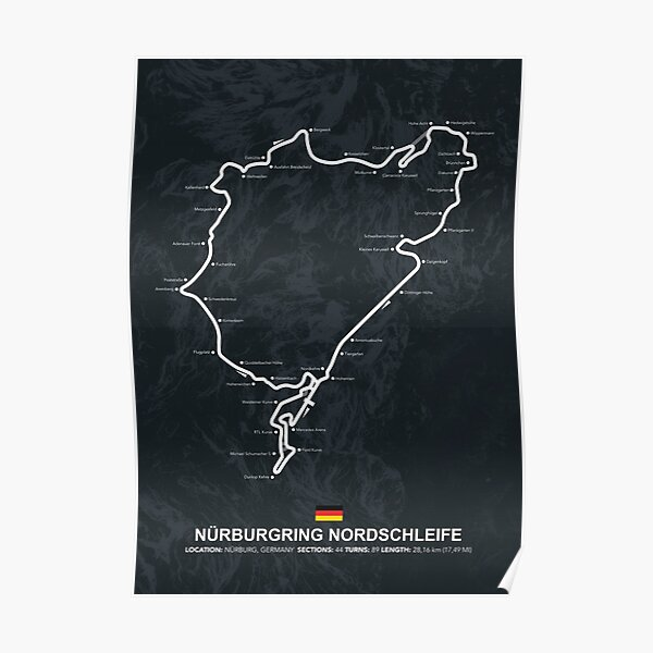 Nürburgring Nordschleife - Plan du circuit Poster