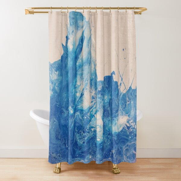 Crashing Blue Waves Shower Curtain