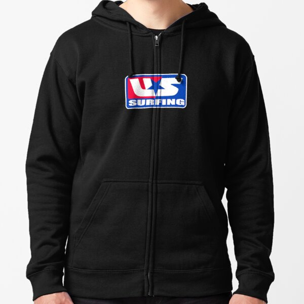 THE USA SURFING STICKER AND SHIRT  Zipped Hoodie