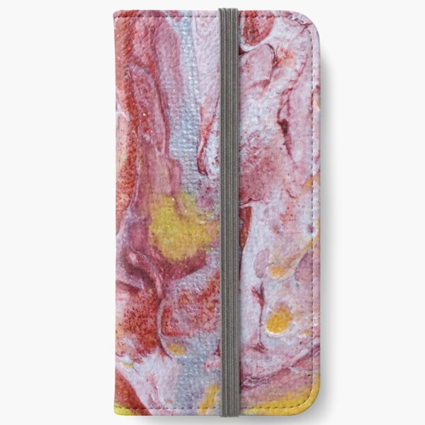 Red, Yellow and Silver Pour Painting-- Red Molten Lava  iPhone Wallet