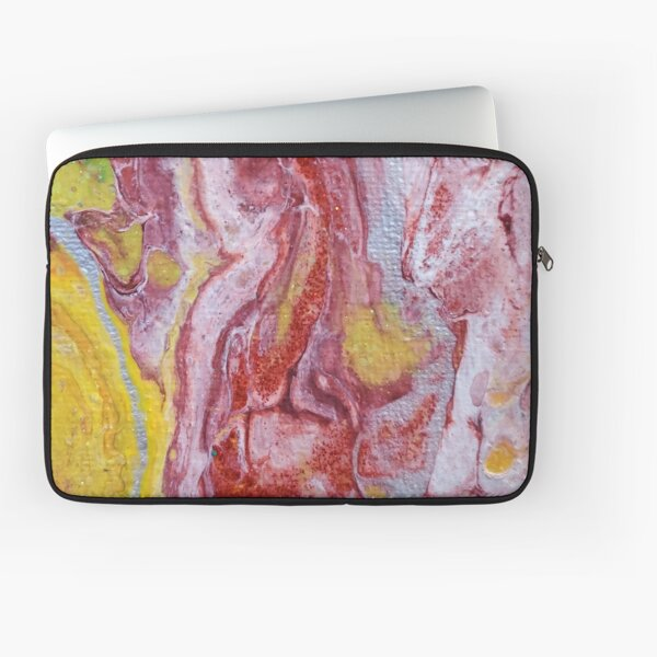 Red, Yellow and Silver Pour Painting-- Red Molten Lava  Laptop Sleeve