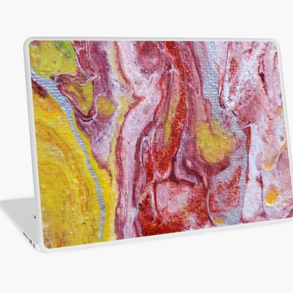 Red, Yellow and Silver Pour Painting-- Red Molten Lava  Laptop Skin