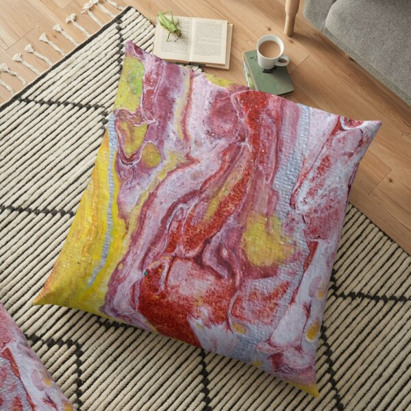 Red, Yellow and Silver Pour Painting-- Red Molten Lava  Floor Pillow