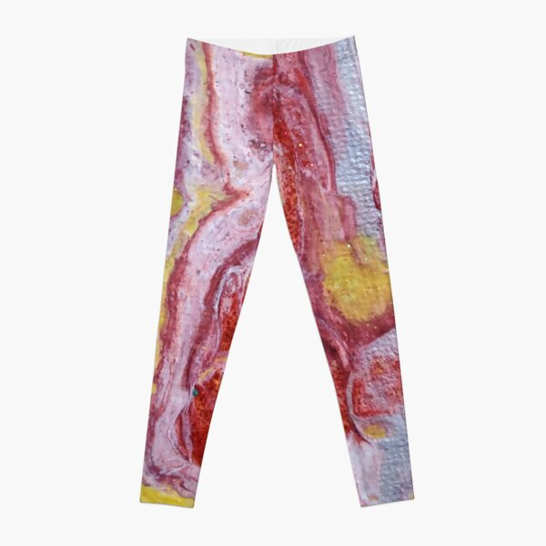 Red, Yellow and Silver Pour Painting-- Red Molten Lava  Leggings