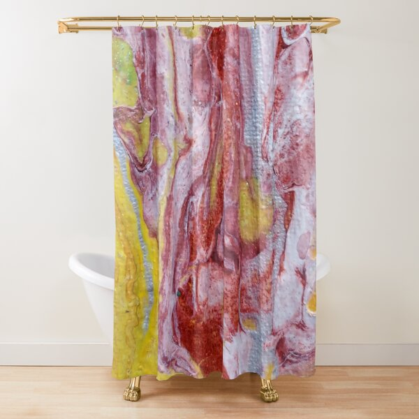 Red, Yellow and Silver Pour Painting-- Red Molten Lava  Shower Curtain