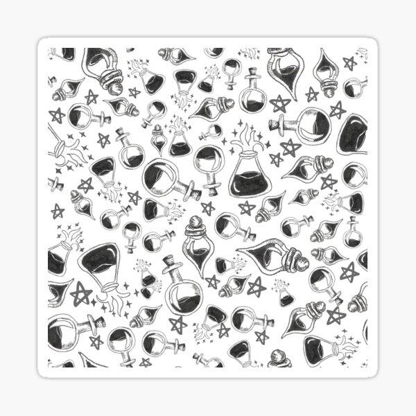 Halloween Potion Bottles Pattern in White Sticker