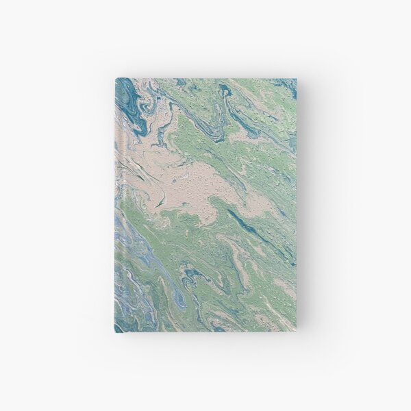 Turquoise, Green and Blue Pour Painting  Hardcover Journal