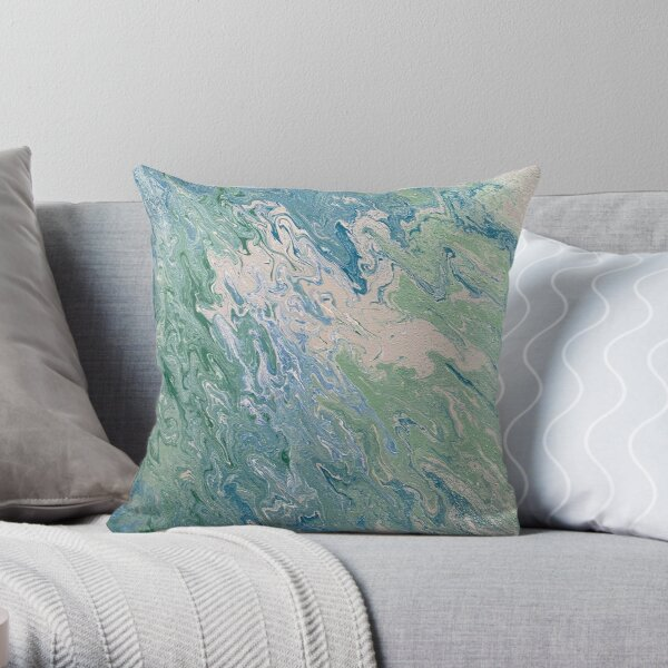 Turquoise, Green and Blue Pour Painting  Throw Pillow