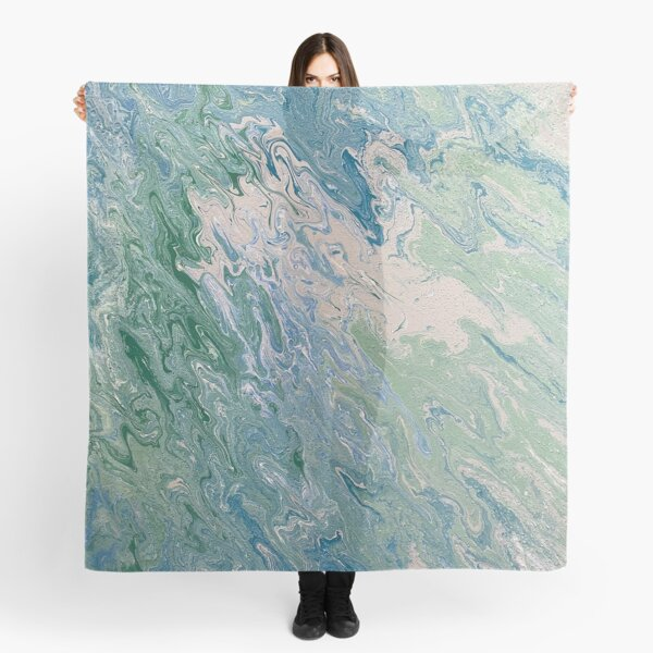Turquoise, Green and Blue Pour Painting  Scarf