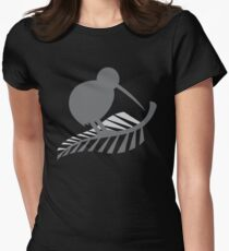 Kiwi Bird and a Silver fern New Zealand  Women's Fitted T-Shirt