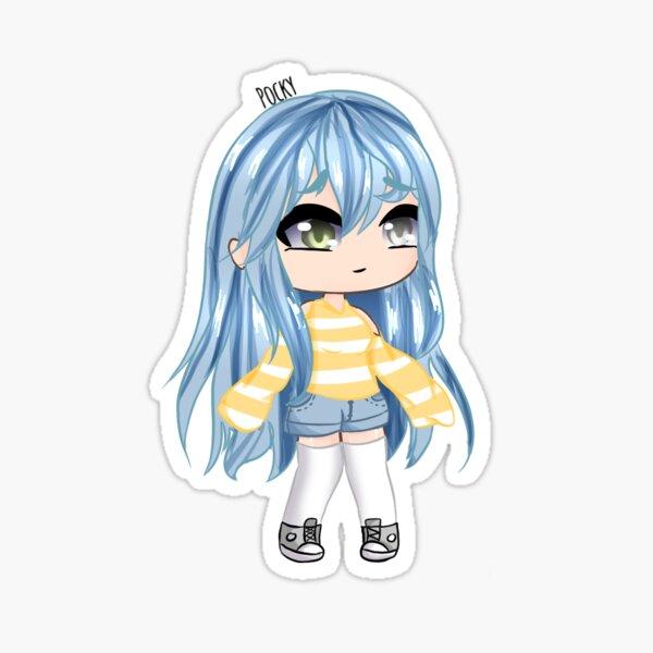 Fille Gacha aux cheveux bleus Sticker