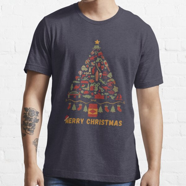 Merry Christmas Australia | Australian Christmas Tree Made Up of Icons/Symbols  (in Vintage Xmas Colors, also available in Bright Colors) Essential T-Shirt