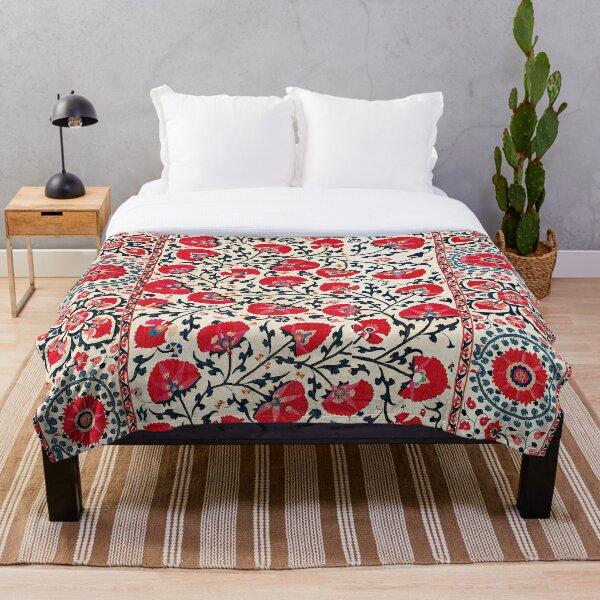 Shakhrisyabz Suzani Uzbekistan Floral Embroidery Print Throw Blanket