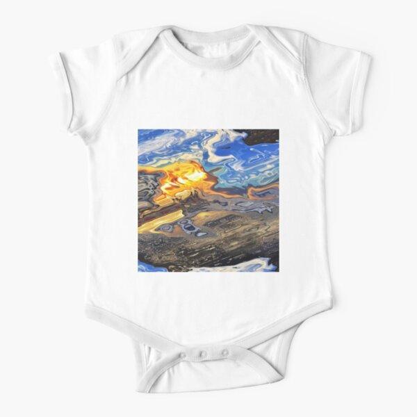 Colorful Acrylic Abstract Ocean Beach Shore Short Sleeve Baby One-Piece