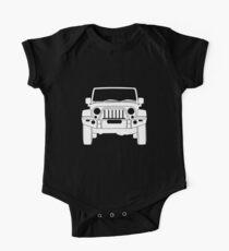 'Full Frontal' - Jeep Wrangler Bull Bar Tee Shirt Design - White One Piece - Short Sleeve