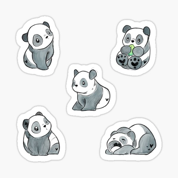 Set of Adorable Cute Illustrated Cartoon Panda Cubs Sticker