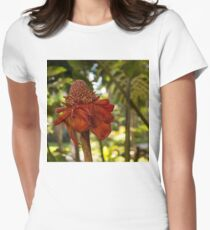 Red Torch Ginger or Ginger Lily in Hawaii Womens Fitted T-Shirt