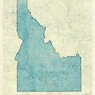 Idaho State Map Blue Vintage by HubertRoguski