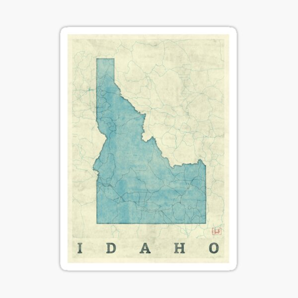 Idaho State Map Blue Vintage Sticker