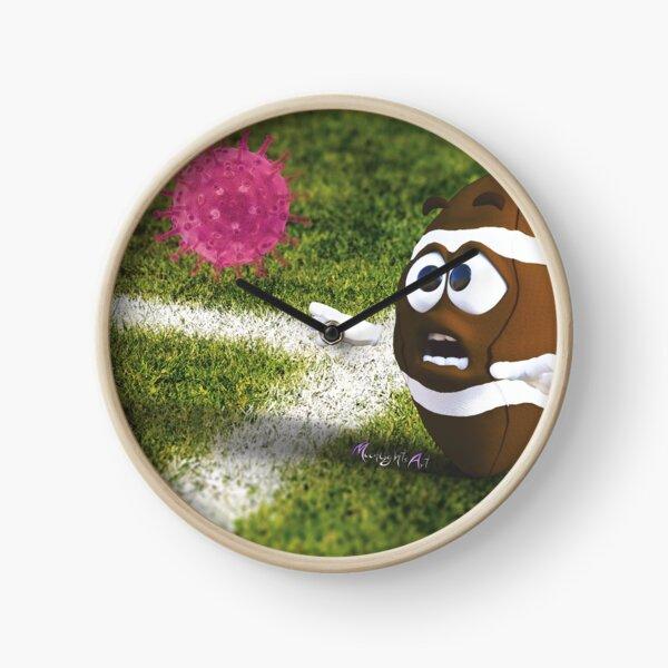 Corona Virus presses a football Clock