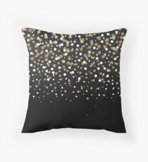Pretty modern girly faux gold glitter confetti ombre illustration Throw Pillow