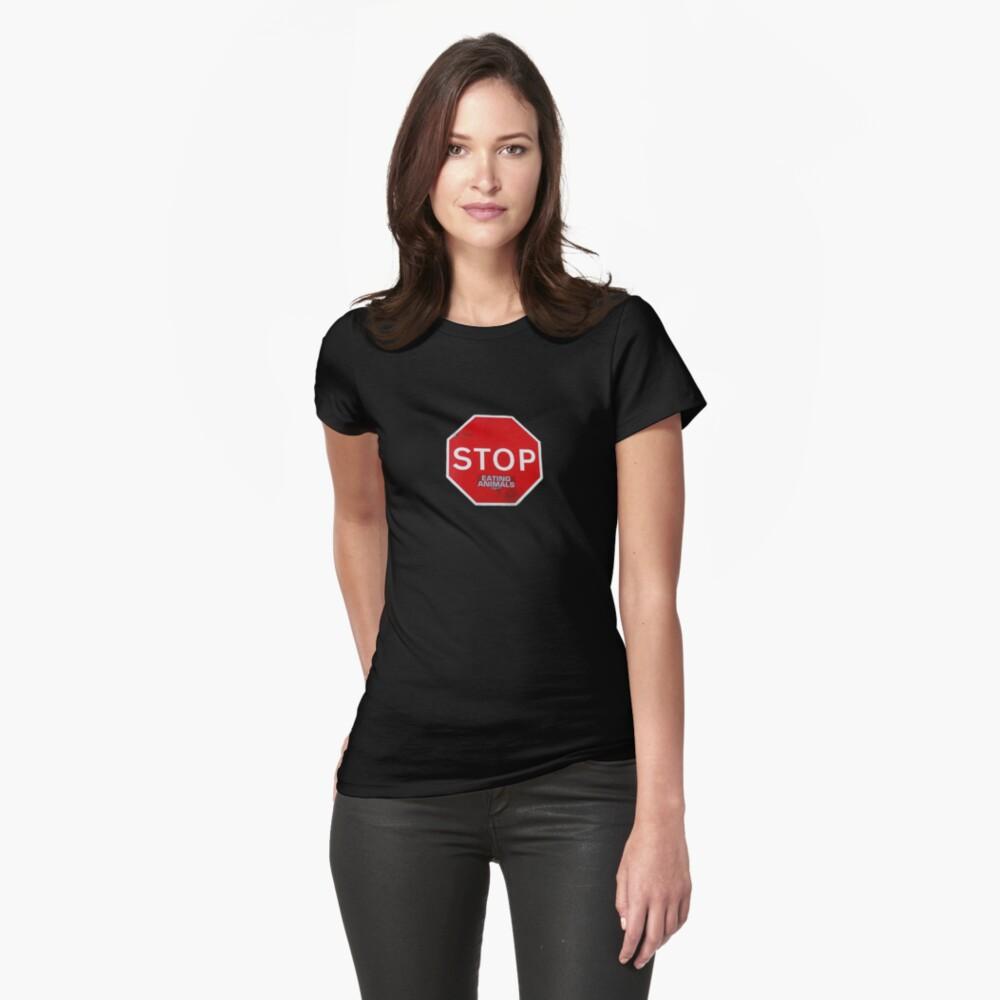 Stop Eating Animals T-Shirt vegetarian vegan Fitted T-Shirt