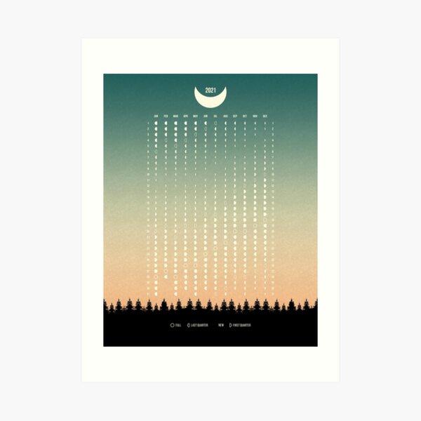 Green Moon Phases Calendar 2021, USA Art Print