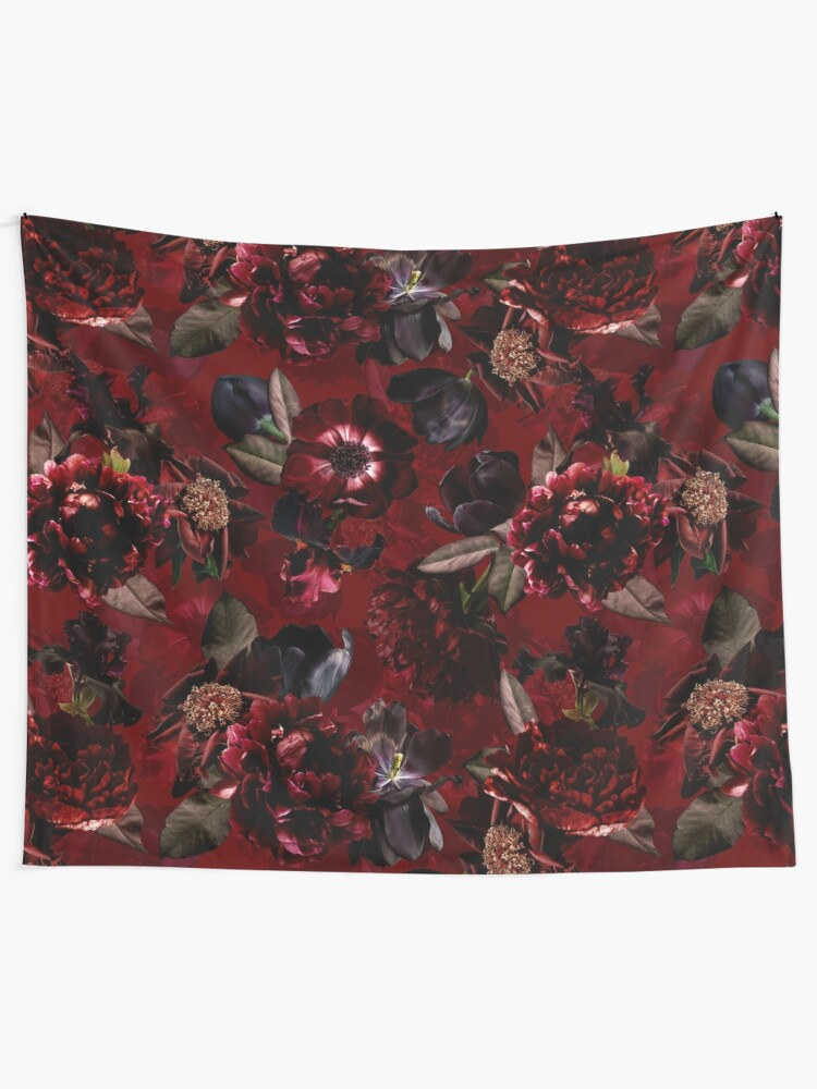 Alternate view of Dark Red Midnight Roses  Tapestry