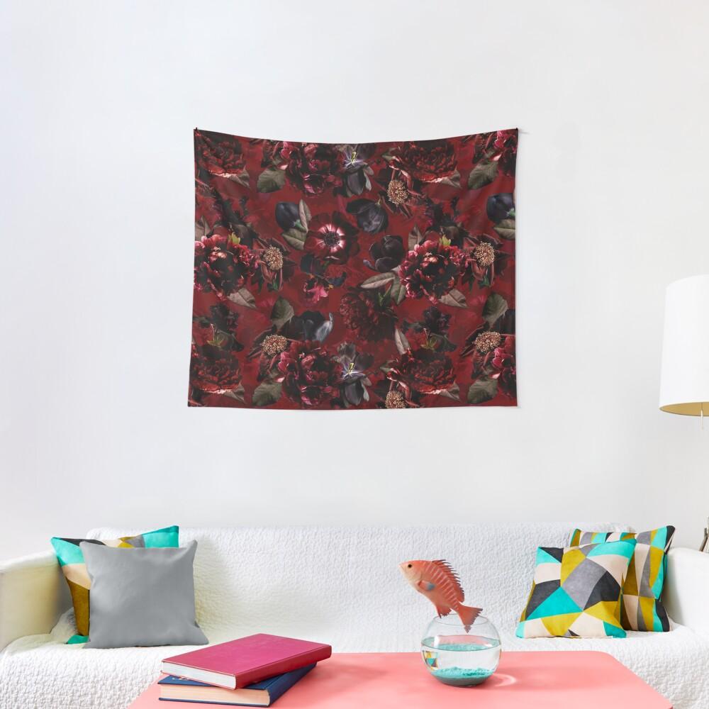 Dark Red Midnight Roses  Tapestry