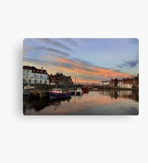 Whitby Harbour at Sunset Canvas Print
