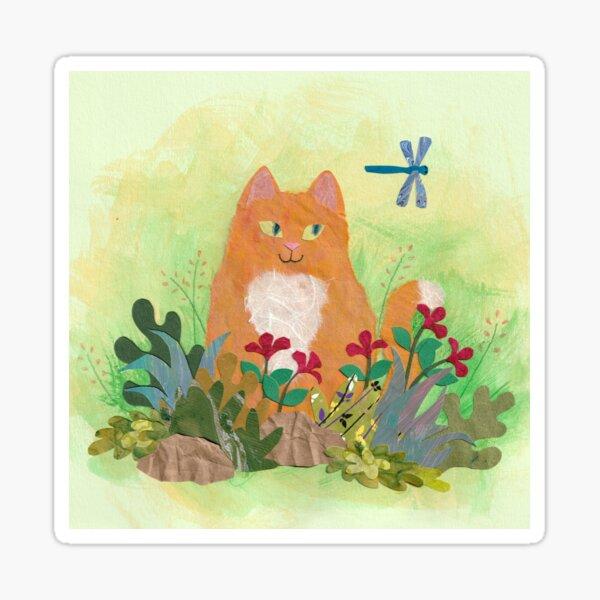 Tabby Cat in the Garden Sticker