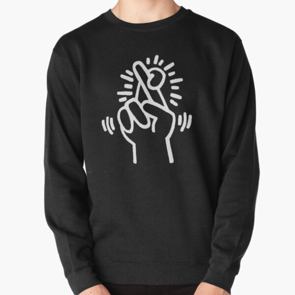 K.Haring Crossed Fingers Ink Drawing Pullover Sweatshirt