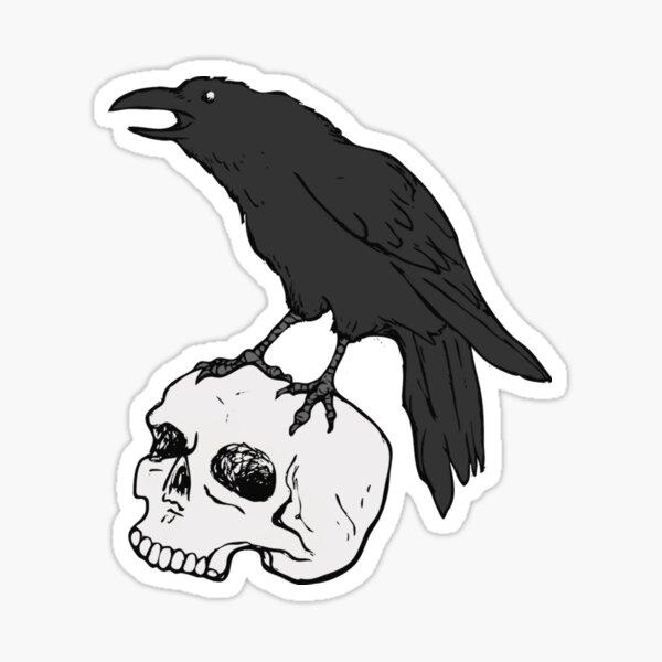 Raven familiar with skull Sticker