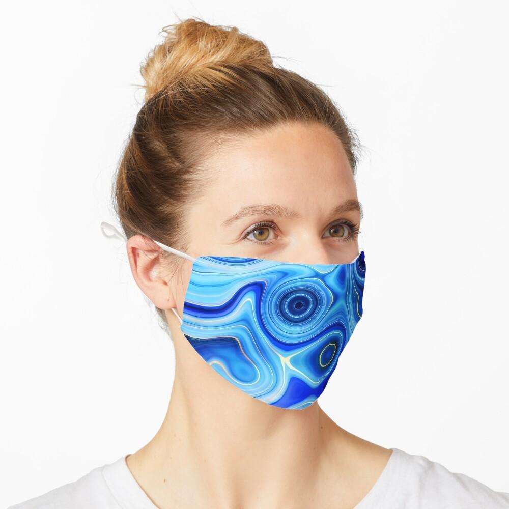 Blue Lapis Lazuli Marble Alcohol Ink  Mask