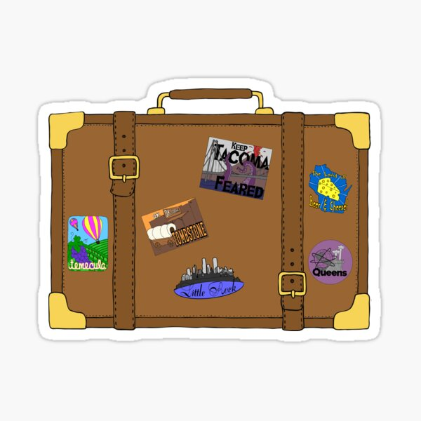 Vintage Suitcase with luggage labels Sticker