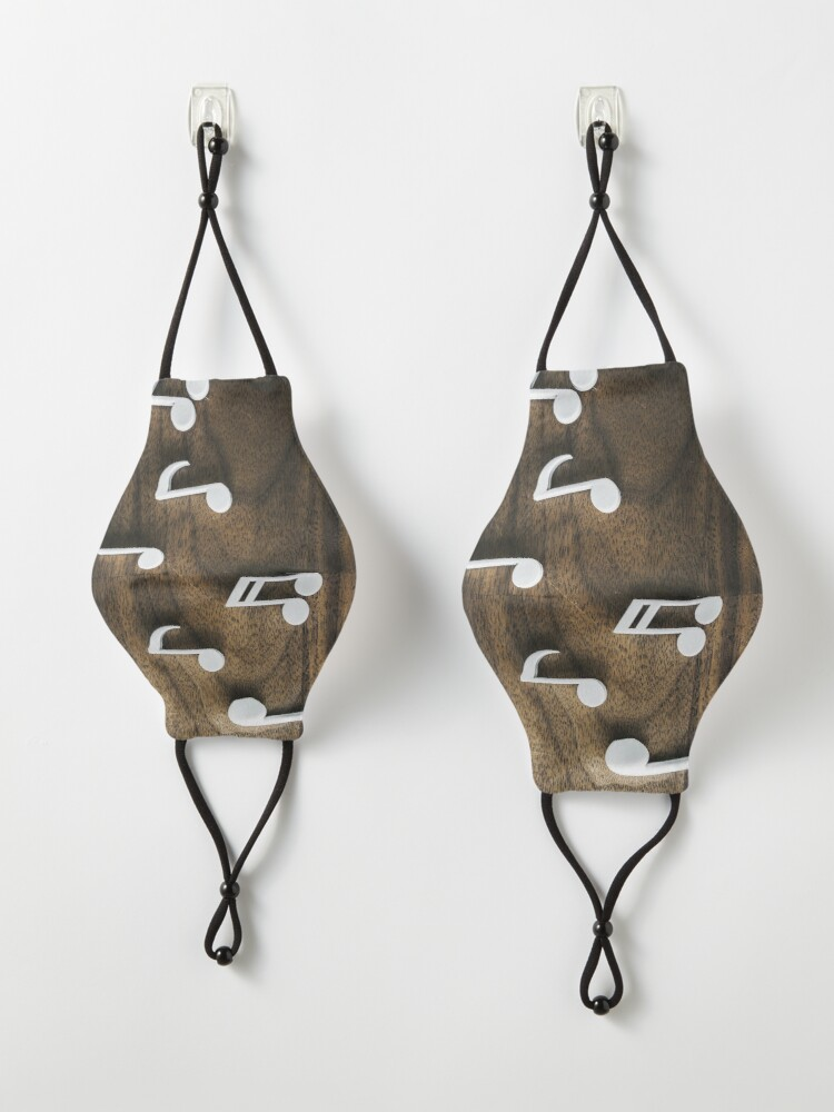 Alternate view of Music notes on Wood Mask
