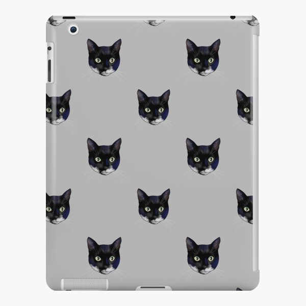 Black and White Tuxedo Cat Faces  - Repeat Pattern iPad Snap Case