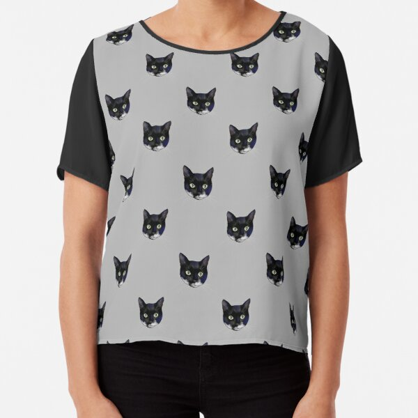 Black and White Tuxedo Cat Faces  - Repeat Pattern Chiffon Top