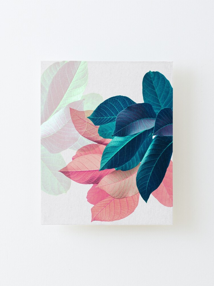 Alternate view of Blue Pink Plant Leaf Mounted Print