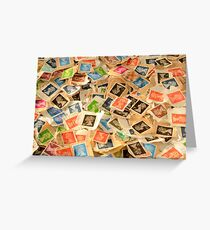 Old British Postage Stamps Background Greeting Card