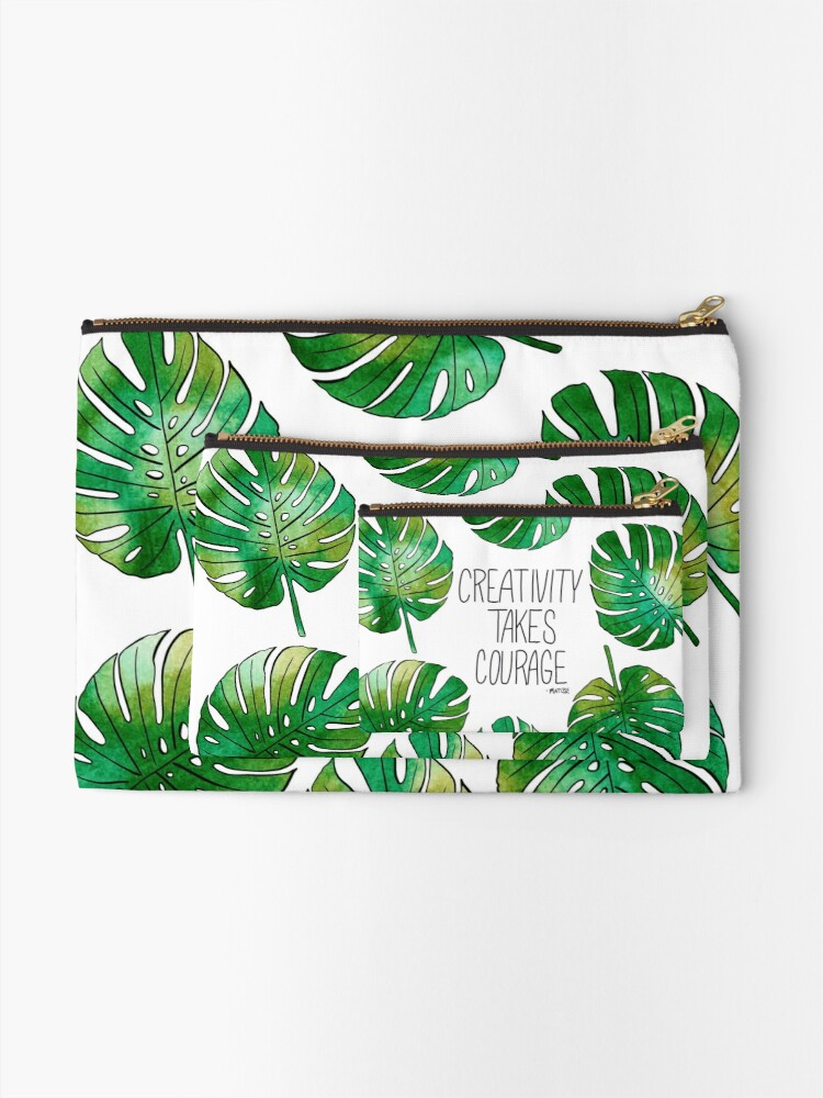 Alternate view of Tropical Leaf  Zipper Pouch