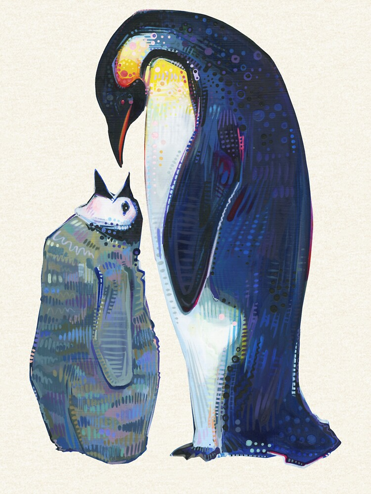 Emperor Penguin Baby and Parent Painting - 2012 by gwennpaints