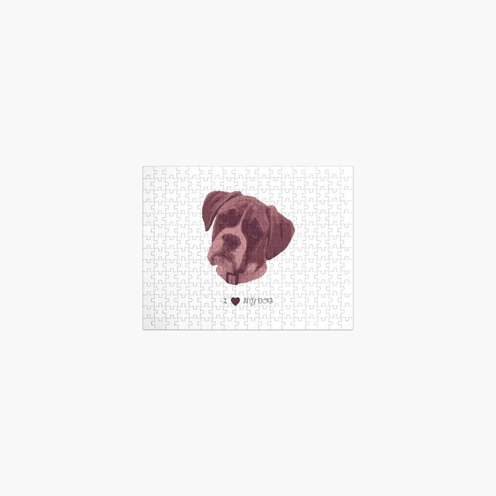 I love my dog - Boxer (Pink) Jigsaw Puzzle
