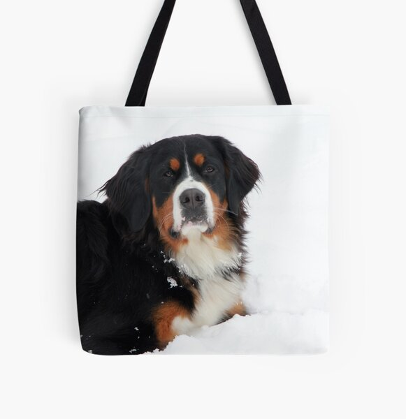 Snow Bernese Mountain Dog  All Over Print Tote Bag