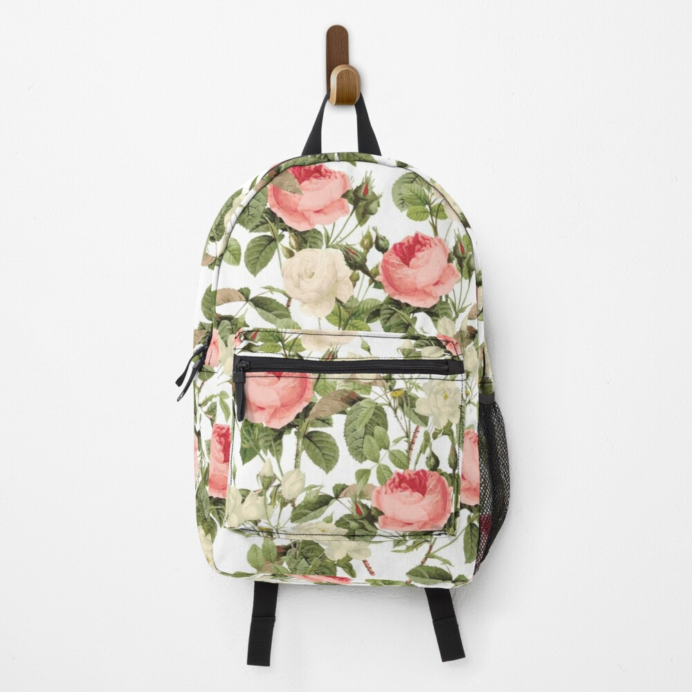 Pink and White roses Backpack