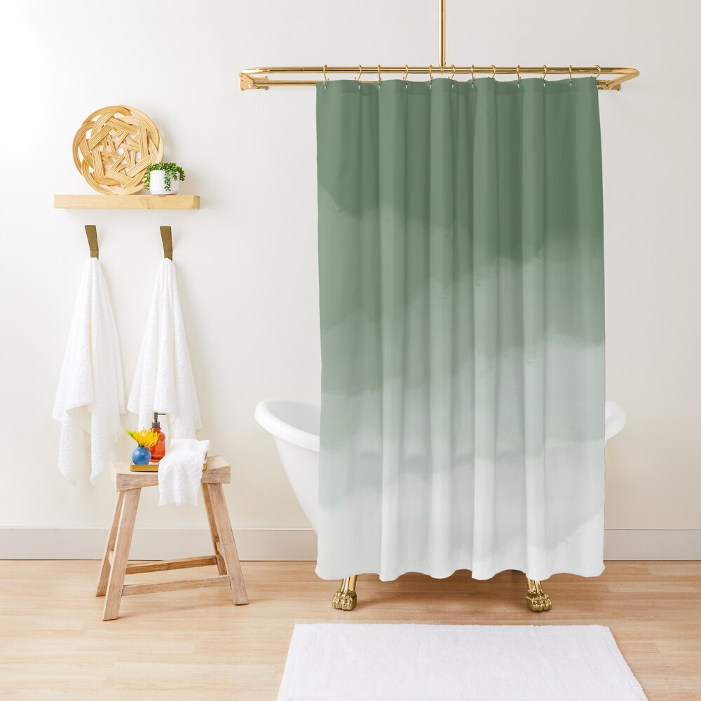 Sage Green Watercolor Ombre (sage green/white) Shower Curtain