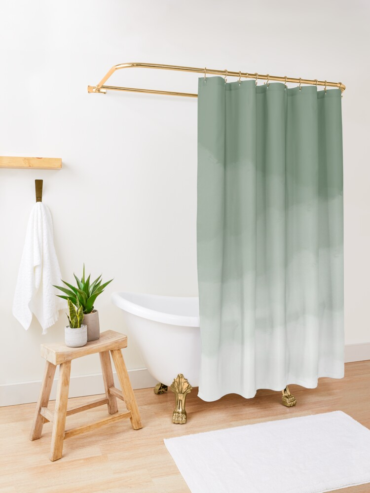 Alternate view of Sage Green Watercolor Ombre (sage green/white) Shower Curtain